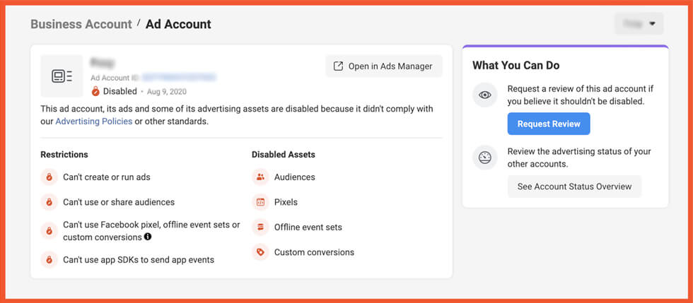 ad account request review