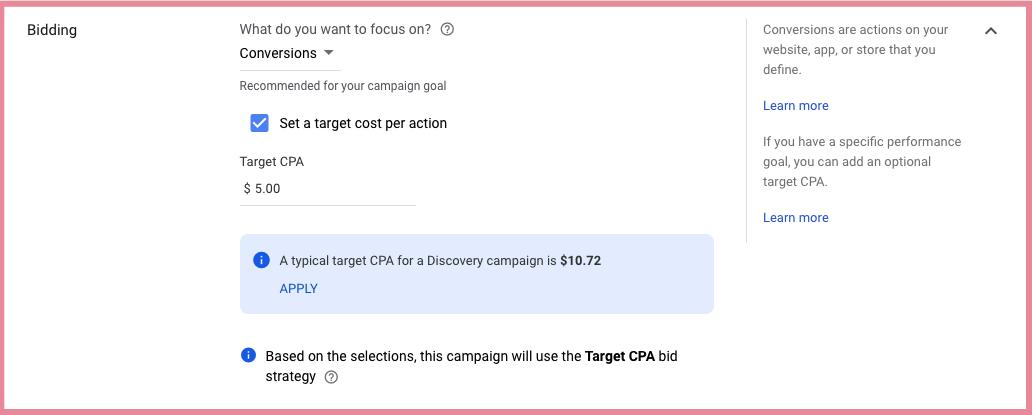 google ads discovery bidding