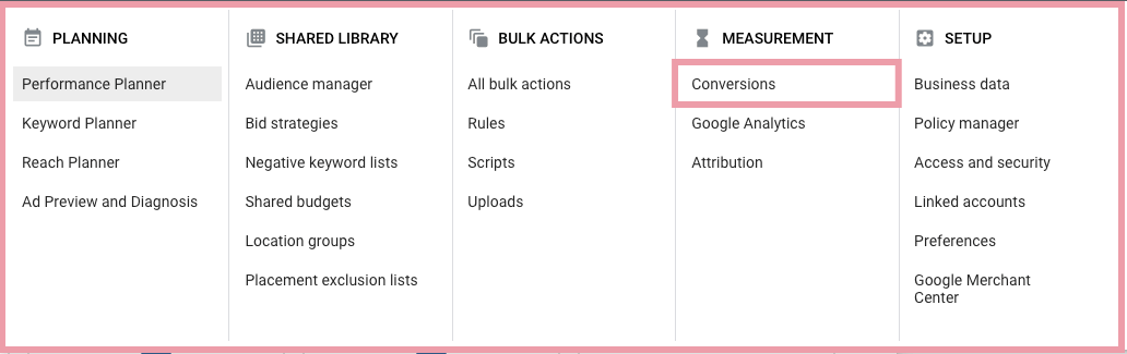 google ads discovery conversions set