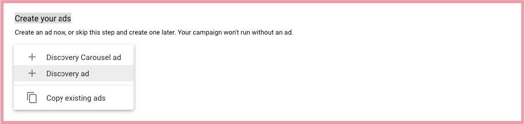 google ads discovery create ads