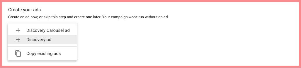 google discovery ads create ads