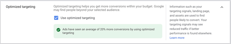 google discovery ads optimized targeting