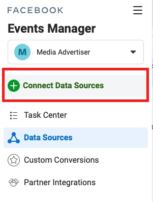 facebook ads event manager connect data sources