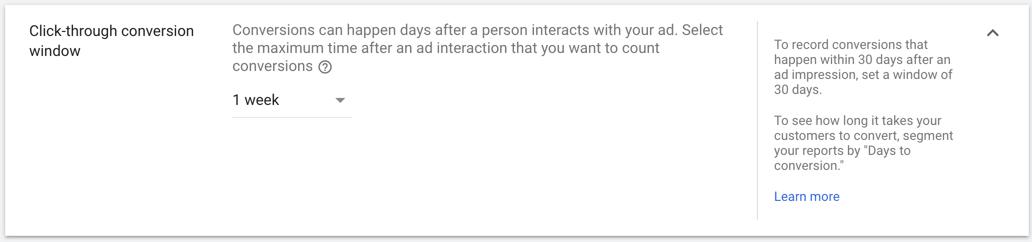 click-through conversion window
