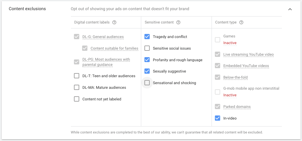 display ads content exclusions