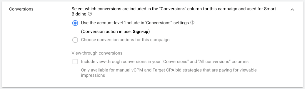 display ads conversions included
