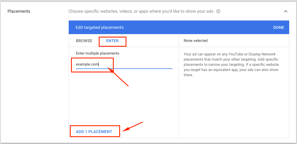 display ads placement targeting websites