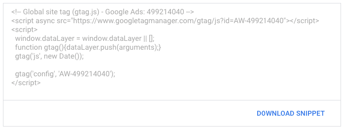 display ads tag snippet