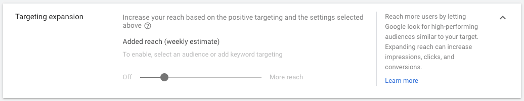display ads targeting expansion