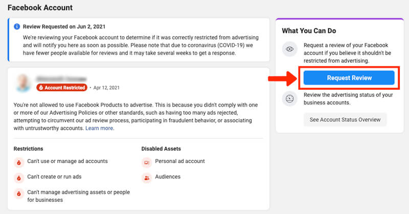facebook ads disabled ad account