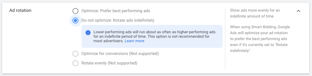 additional settings ad rotation