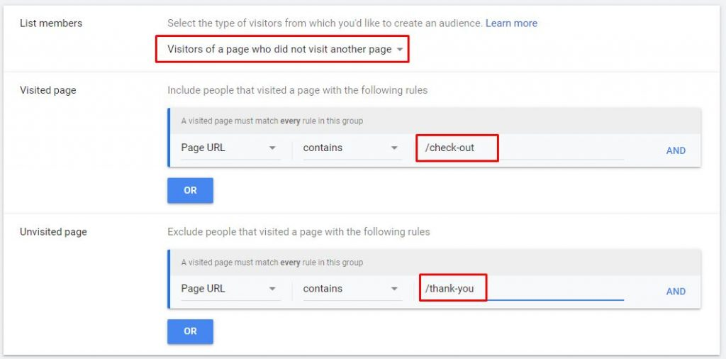 google ads retargeting list unvisited page