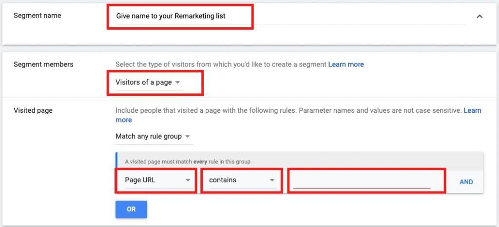 google remarketing website visitors rule