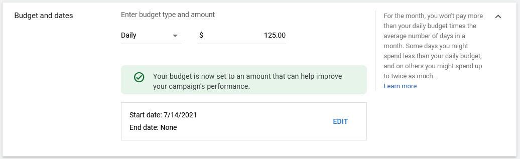 google video ads budget amount