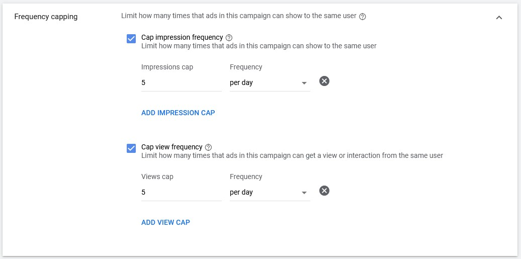 google video ads frequency capping