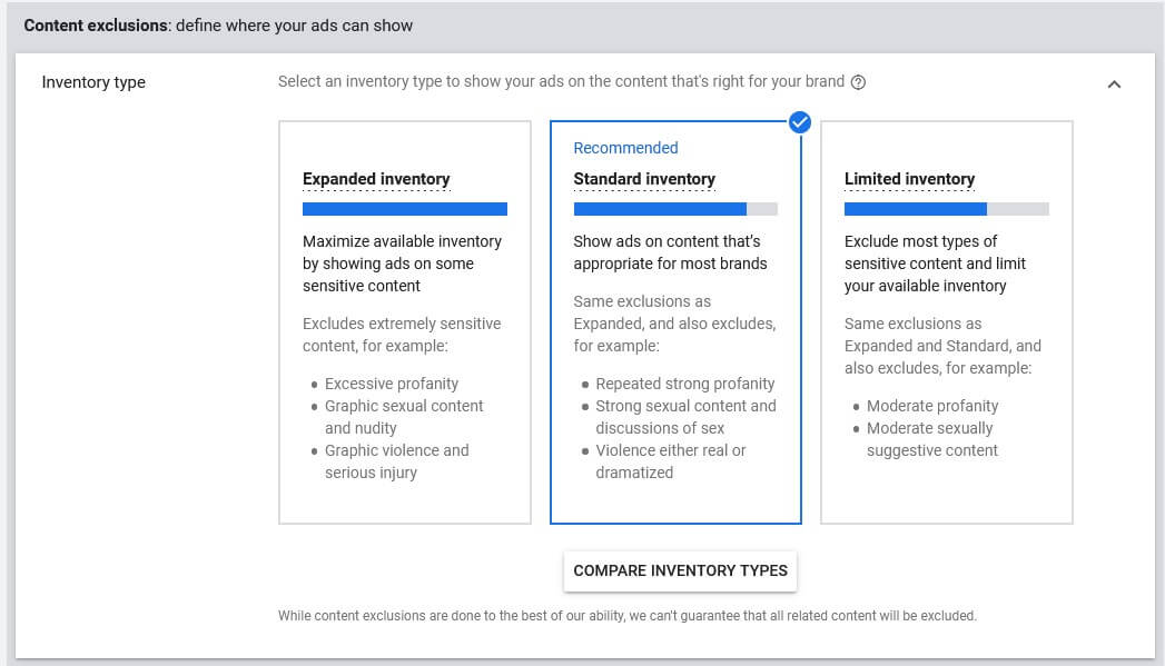 google video ads inventory type