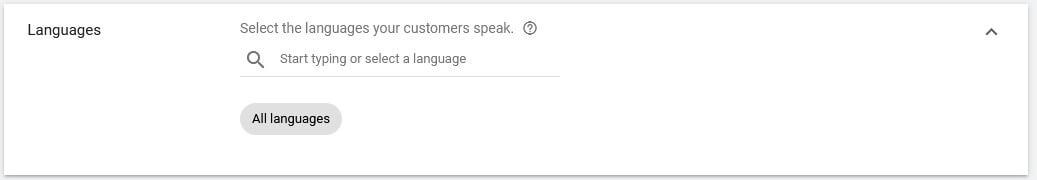 google video ads language