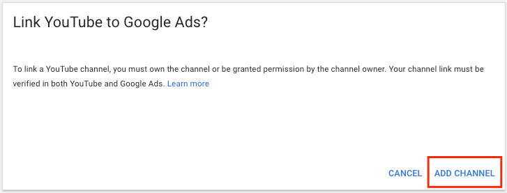 google video ads link youtube add channel