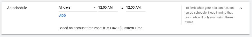 google video ads schedule