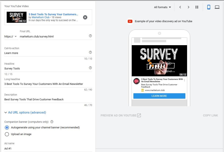 google video ads survey tools