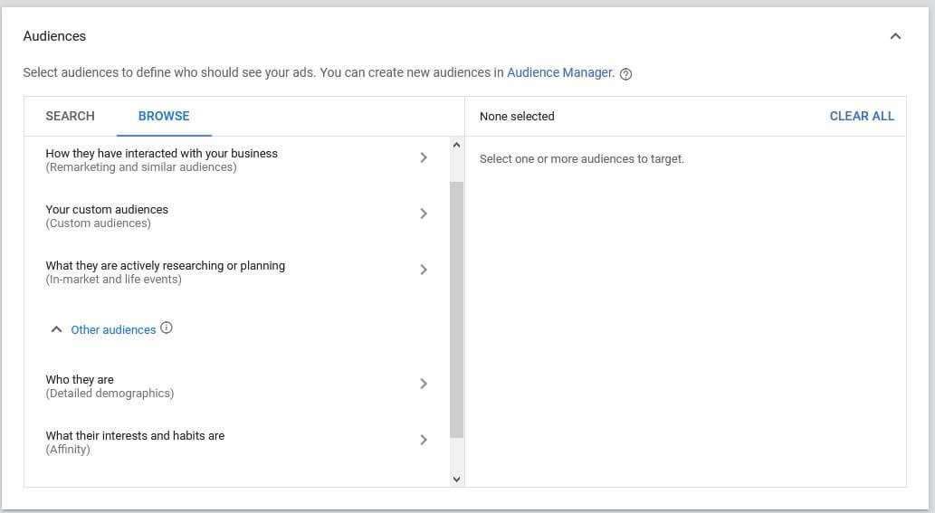 google video ads targeting audiences