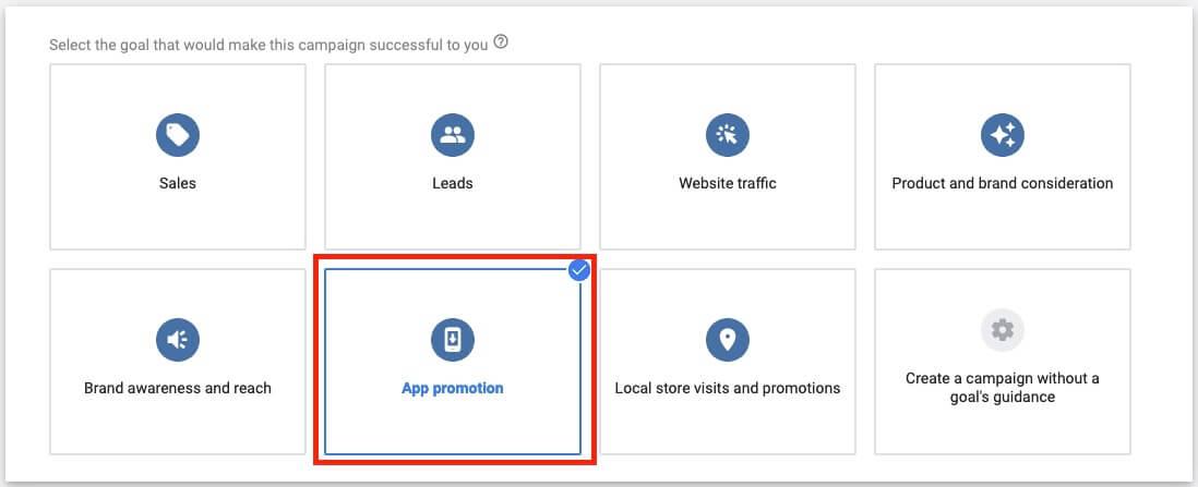 google ads app campaign goal