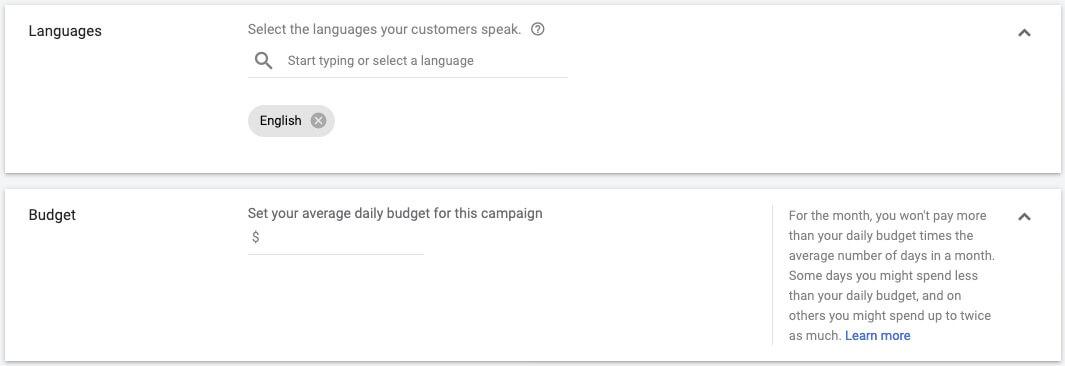 google ads app campaigns language budget