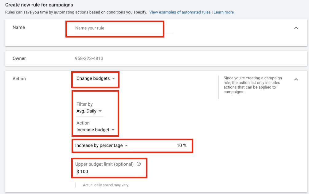google ads automated rules conditions