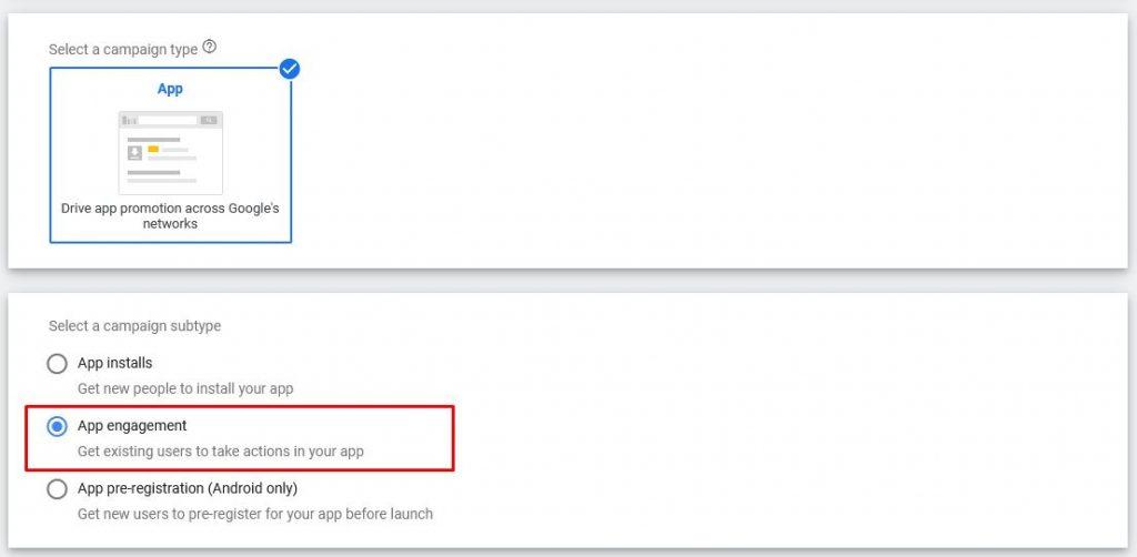 google app campaigns re-engagement