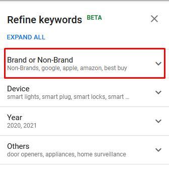 exclude brands